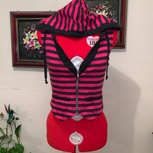 Stripe Sleeveless Vest ( Pink/ Black)